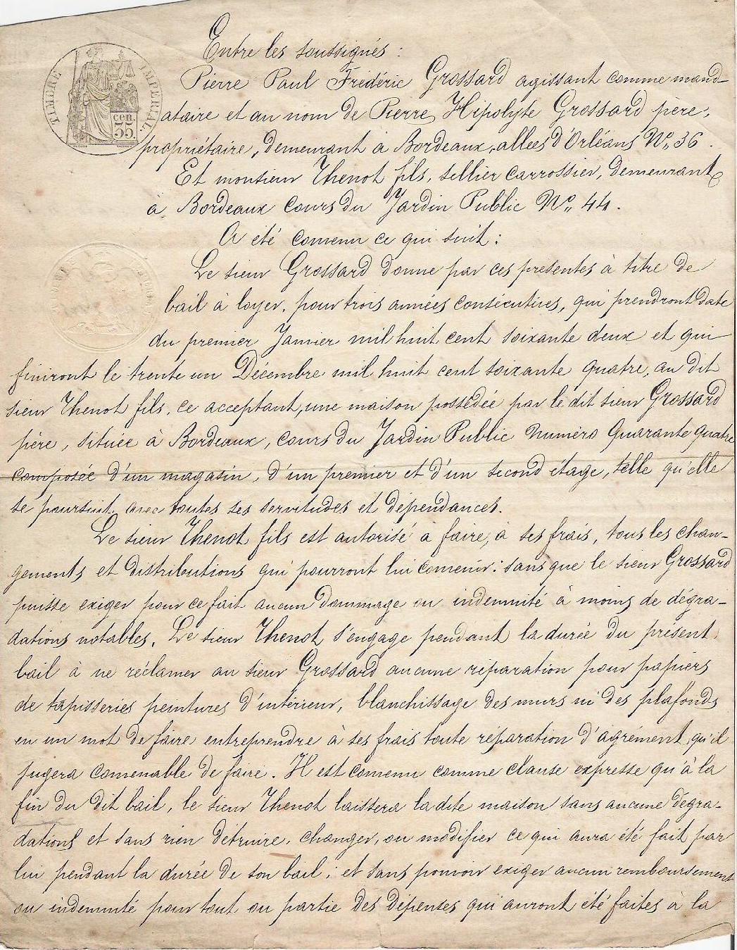 1862 Parisian Handwritten Letter
